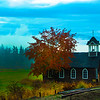 View on vintage church outside of Vancouver en route