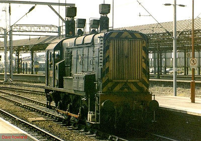 In its one-off livery of LNWR blackberry black, complete with cast numberplates, 08907 is seen on pilot duties in the bay at the south end of Crewe station. Date unknown.