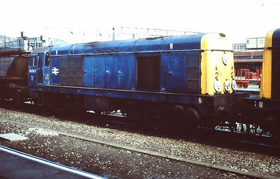 20057 (double-heading with 20013 leading) with an MGR train at Crewe in June 1992.
