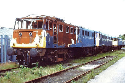 Withdrawn at Crewe Electric Depot on 28th May 1988 are: 81018 (fire damage), 81014 & 81015.