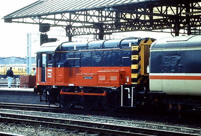 """08633 """"The Sorter"""" is seen on pilot duties at Crewe in June 1992."""