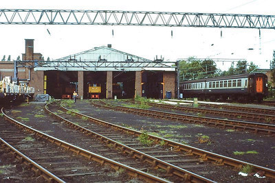 Crewe Electric TMD, looking west. 28th May 1988.