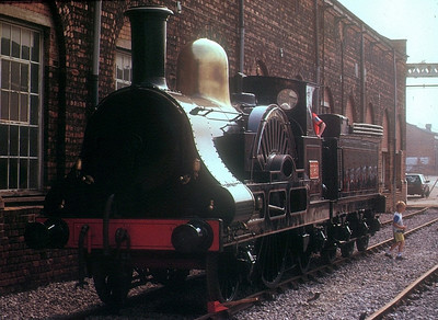 """LNWR Webb 2-2-2 3020 """"Cornwall"""" at Crewe Works open day, 21st July 1990."""