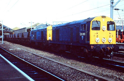 20013 + 20057 double-head an MGR train through Crewe in June 1992.