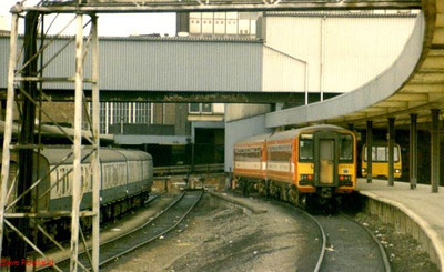 A Class 155 DMU stands at Leeds, adjacent to the GPO sidings. 1988?