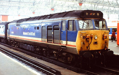 """NSE 'Hoover' 50043 """"Eagle"""" is pictured at Waterloo station on 5th December 1989."""