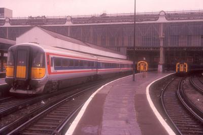 Class 442 5-car EMU 2421 at Waterloo on 5th December 1989.