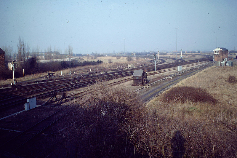 'Whitemoor Junction looking towards Diesel Depot and Up Departures'. This may have been taken after closure of the GN/GE Joint line ( note lack of signalling and colour light signal behind the fog hut.) Depot Offices on the left. The fog hut is the only extant object in this picture taken in 1982.
