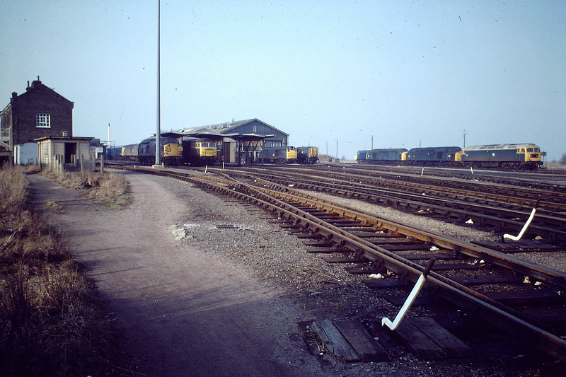 'Front of March Diesel Depot, 1982'. I guess this is taken in the middle of the day when everything tended to be quite quiet. Note a Stratford Class 47 on the right with two Class 40's. These would have worked Speedlink trains down in the night, one possibly the Petfood. They tended not to be used on the Speedlink feeders to the east due to lack of crew knowledge further east, mostly being sent to Peterborough or very often down the Wisbech Branch. Note also the DMU in front of the chimney, a rare sight on depot.