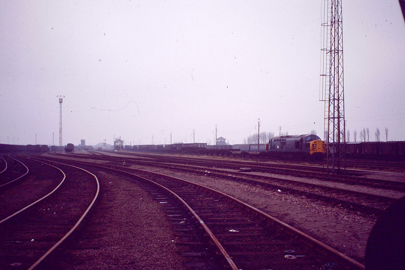 No caption with this picture but I think it may taken looking south with Up Hump Tower just behind the camera as a Class 37 departs on a down mixed freight.