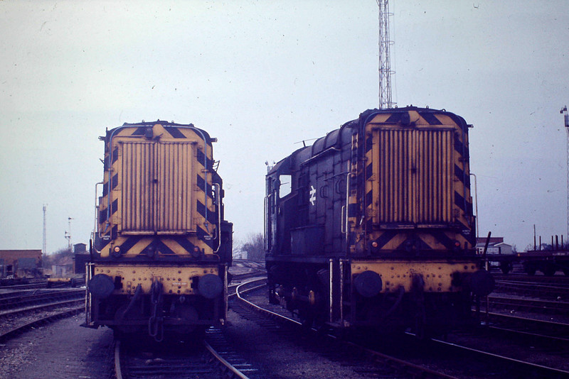 '08257 and 08258, the Regular Hump Shunters'. 08257 was a March loco from new as 13327, then D3327, until withdrawal in October 1985, whilst 08258 was based here from May 1957 until withdrawn in November 1988. Diesel shunting engines had been introduced to Whitemoor by the LNER with Class DES1/2 after World War Two because of their ease of slow speed control, vital in hump shunting.