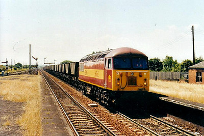 56 062 - BR Class 56 Type 5 Co-Co DE - built 08/79 by Doncaster Works - withdrawn 02/04 - seen here at Barnetby on coal empties.