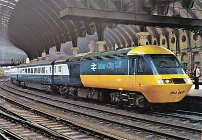 HST set 254 007 arrives at York when nearly new. Class 254 were the ECML sets whilst Class 253 were WR sets.