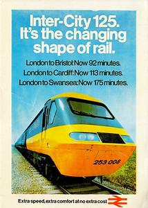 HST set 253 008 on the advertising poster for BR's West of England HST service, 10/76.