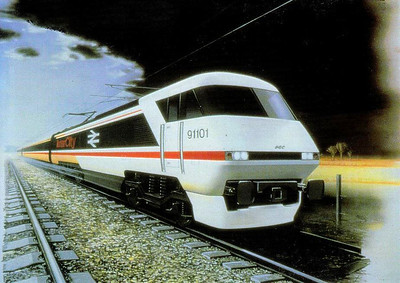 An artist's impression of a Class 91 IC225 locomotive, 31 built  by BREL, Crewe Works, in 1988-91 for ECML express services - the final product has a somewhat different front end to this picture.