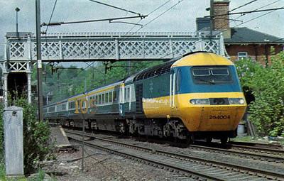 HST set 254 004 roars through Welwyn North, 05/79.