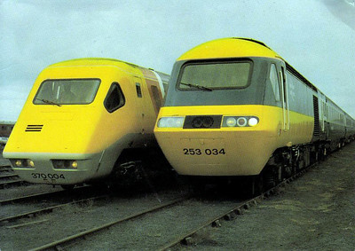 APT 370 004 and HST 253 034 stand side by side at Bold Colliery, waiting to take their place in 1980 Rainhill 150 Procession.
