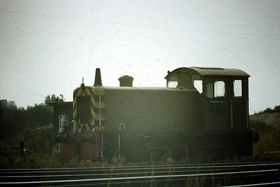 PAPWORTH DISTRIBUTION CENTRE, Queen Adelaide -  D2302 stands right next to the mainline, 08/83. This loco was withdrawn by BR on June 1969 and is now preserved at the Rutland Railway Museum.