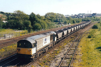58 010 - BR Class 58 Type 5 Co-Co DE - built 02/84 by Doncaster Works - withdrawn 02/00 - 07/09 to France for LGV engineering duties - seen here bringing an MGR off the Erewash Valley line at Clay Cross Junction.