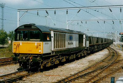 58 004 - BR Class 58 Type 5 Co-Co DE - built 02/84 by Doncaster Works - 07/09 to France for LGV engineering duties - seen here at Stoke-on-Trent.