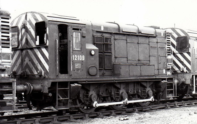 12109 - BR/EE Class 11 0-6-0DE Shunter - built 1950 by Darlington Works - withdrawn 11/72 from Stratford TMD, where seen, withdrawn, 01/73.