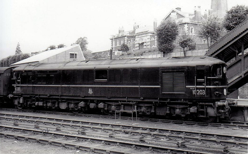 10203 - BR/EE Type 4 1-Co-Co-1 DE - built 1954 by English Electric - withdrawn 12/63 - seen here at Exeter Central in 1954.