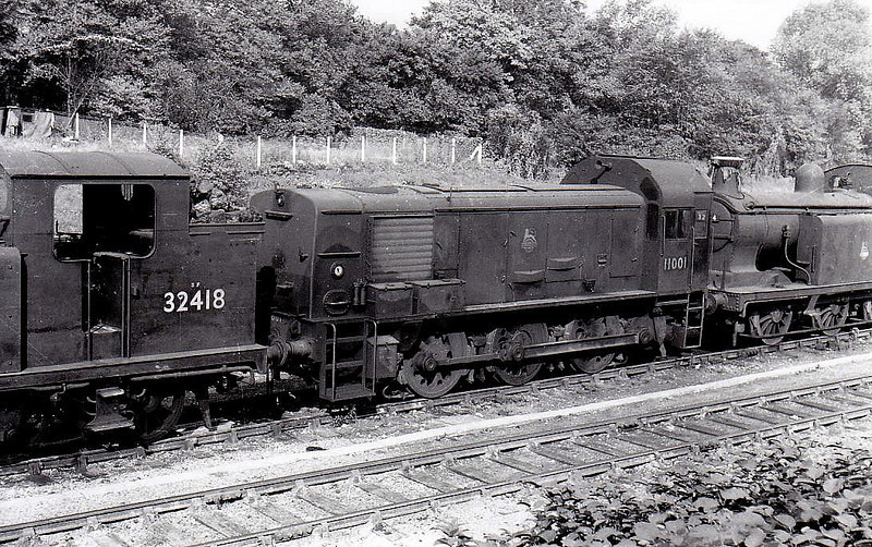 11001 - BR/Paxman 0-6-0DM Shunter - built 1950 for SR - withdrawn 08/59seen here at Norwood Junction, 10/57.