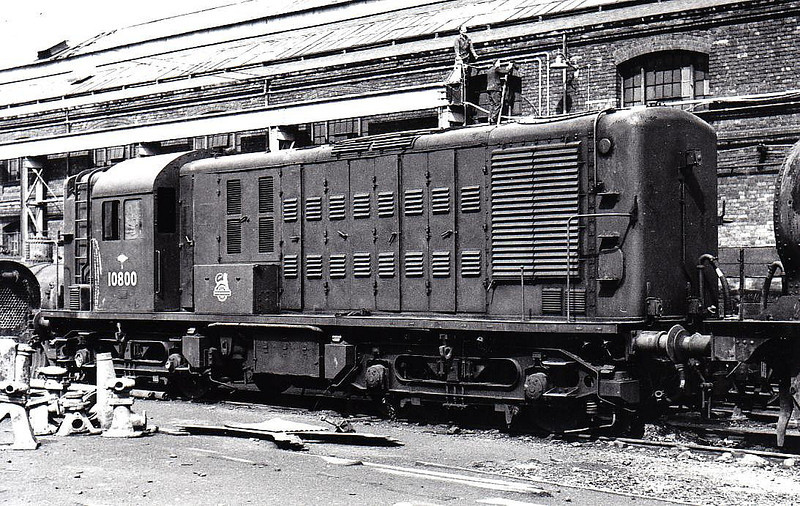 10800 - NBL Type 1 Bo-Bo DE - built 1950 by North British Loco Co. - withdrawn 08/59 - prototype of Class 14/15 - seen here at Stratford.