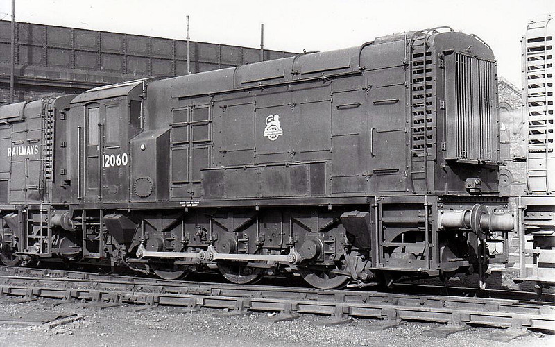 12060 - BR/EE Class 11 0-6-0DE Shunter - built 1950 by Derby Works - withdrawn 02/71 from Longsight TMD - sold to NCB Philadelphia - withdrawn 11/85 - seen here at Saltley in 1958.