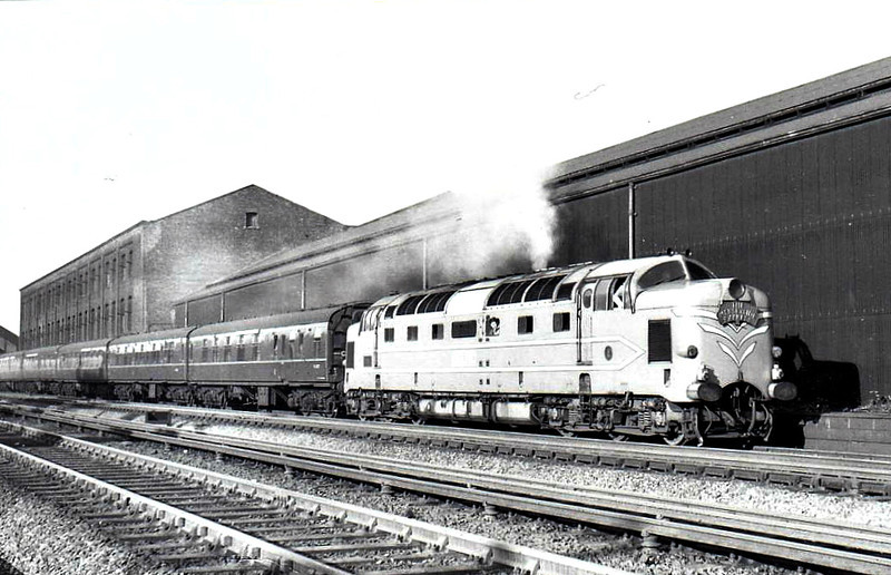 DELTIC - EE Type 5 Co-Co - built 1955 by English Electric - withdrawn 05/60 - preserved - seen here on Camden Bank in 10/56.