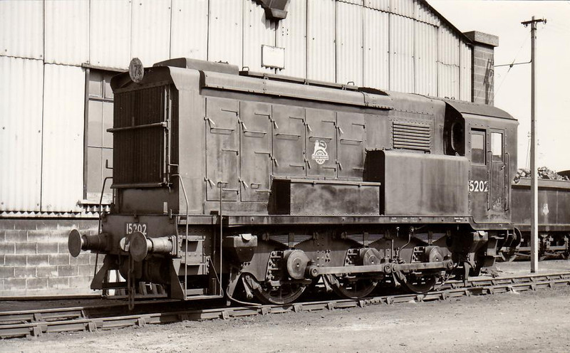 15202 - SR/EE 0-6-0 DE Shunter - built 1937 by English Electric as SR No.2 - 1948 to 15202 - withdrawn 11/64 - seen here at Hither Green in 1956.