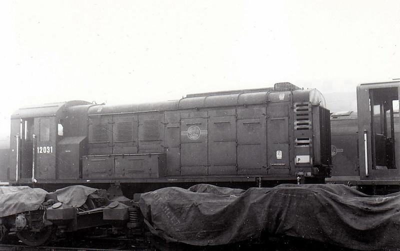 12031 - LMS/EE 0-6-0DE Shunter - built 1942 by Derby Works as LMS No.7118 - 1948 to 12031 - withdrawn 12/67.