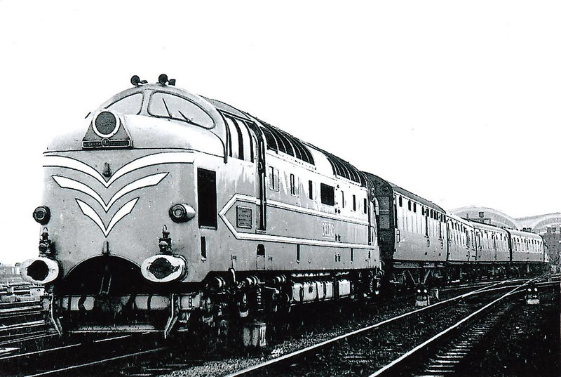 DELTIC - EE Type 5 Co-Co - built 1955 by English Electric - withdrawn 05/60 - preserved - seen here leaving York.