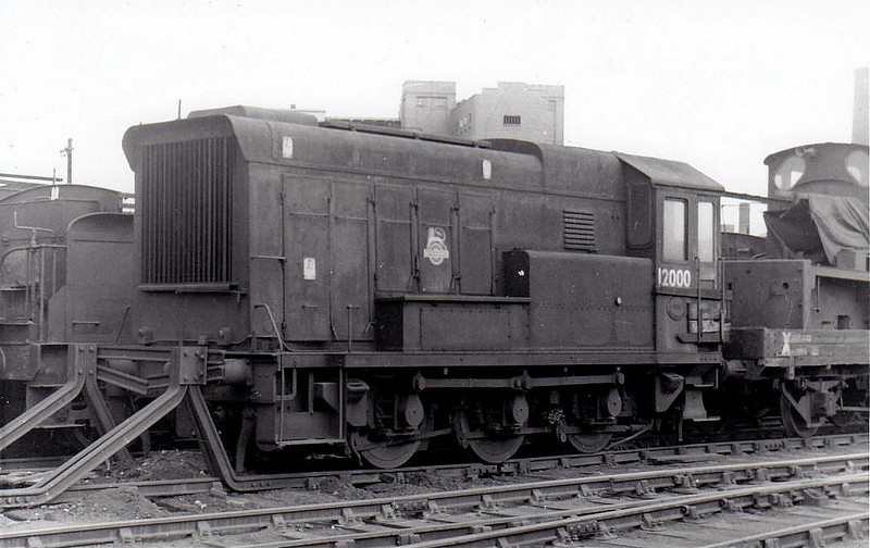 12000 - HL 0-6-0DE Shunter - built 1936 by Hawthorn Leslie as LMS No.7074 - 1948 to 12000 - withdrawn 04/61 - seen here at Derby, withdrawn, 04/62.