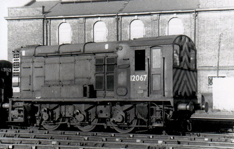 12067 - BR/EE Class 11 0-6-0DE Shunter - built 1949 by Derby Works - withdrawn 01/69 from Willesden TMD, where seen in 1969, withdrawn.