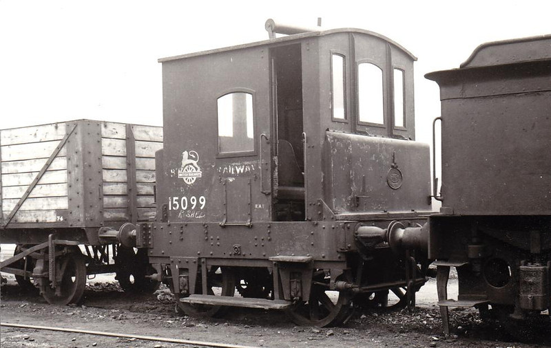 15099 - Motor Rail & Tram Car Simplex Class Y11 0-4-0 Shunter -built 1921 for NBR, 1923 to LNER No.8431, 1946 to LNER No.8189 - withdrawn 1956 as BR No.15099 - seen here withdrawn at Stratford.