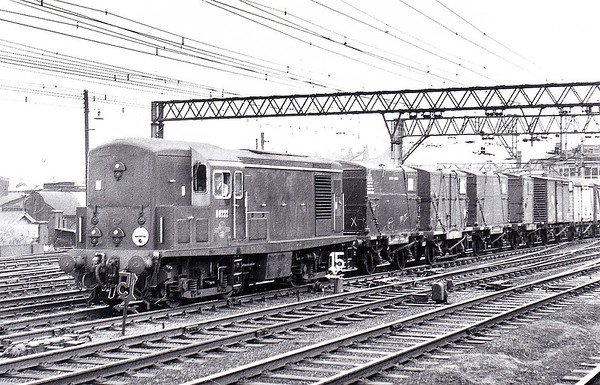 Class 15 - D8232 - Clayton Type 1 Bo-Bo DE - built 08/60 by Clayton Equipment Co. - withdrawn 03/71 from Straford MPD - seen here passing Stratford on a goods to Temple Mills in July 1961.