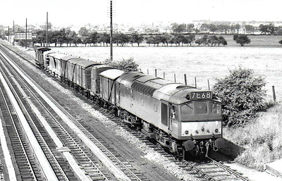 Class 25 - D7520 -  BR Type 2 Bo-Bo DE - built 12/64 by Derby Works - 1973 to 25 170 - withdrawn 08/82 from Laira TMD - seen here at Brentingby in 08/66.