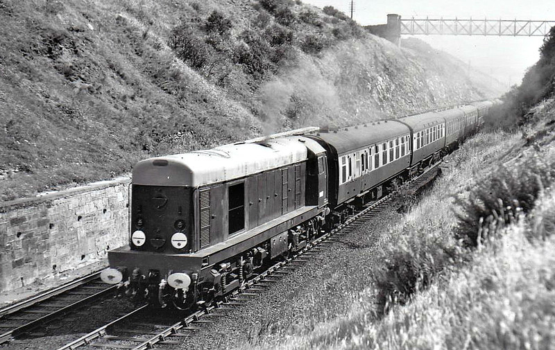 Class 20 - D8007 - EE Type 1 Bo-Bo DE - built 09/57 by English Electric - 1973 to 20 007 - withdrawn 07/93 from Tinsley TMD - preserved - seen here at Shap Summit on a test train, 09/57.