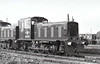 Class 03 - D2011 - BR 0-6-0DM Shunter - built 02/58 by Swindon Works - withdrawn 10/72 from March TMD - seen here outside Swindon Works, brand new, 02/58.