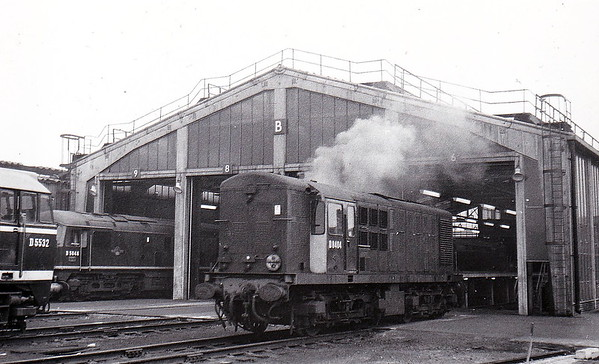 Class 16 - D8404 - NBL Type 1 Bo-Bo DE - built 08/58 by North British Loco Co. - withdrawn 02/68 from 30A Stratford, where seen in 02/61.