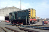 08102 - BR/EE Class 08 0-6-0DE Shunter - built 09/55 by Derby Works as 13167 - 1957 to D3167, 1973 to 08102 - withdrawn 03/88 from Doncaster TMD - preserved - seen here at Lincoln Holmes Yard, relivieried as D3167, loading onto road transport, presumably en route to presevation - note centre wheels missing.