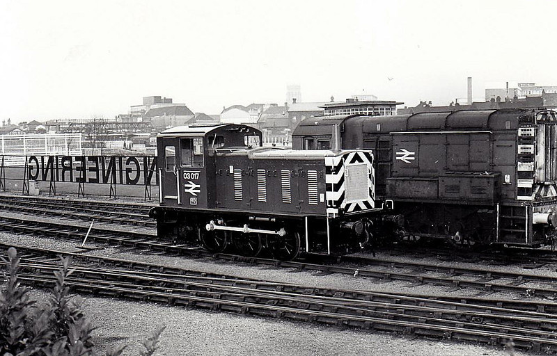 03017 - BR Class 03 0-6-0 DM Shunter - built 1957 by Swindon Works as D2017 - 1973 to 03017 - withdrawn 02/82 - seen here at Doncaster Works, 12/79.