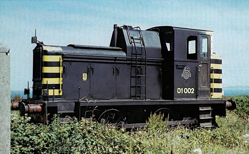 01 002 - Class 01 0-4-0DM Shunter - built 02/56 by Andrew Barclay as D2955 - 1973 to 01 002 - withdrawn 03/81 - seen here at Holyhead Quarry in 1974.