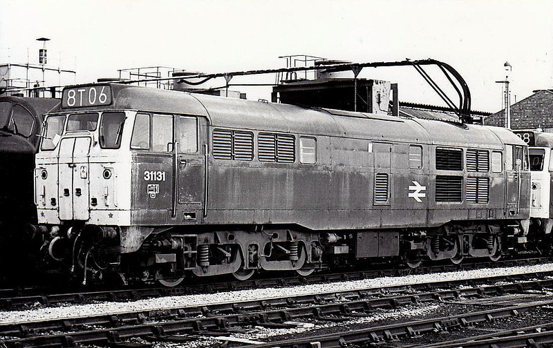 31131 - Brush Class 31 Type 2 A1A-A1A DE - built 09/59 by Brush Traction as D5549 - 1973 to 31131 - withdrawn 03/89 - seen here at Doncaster TMD, 09/74.