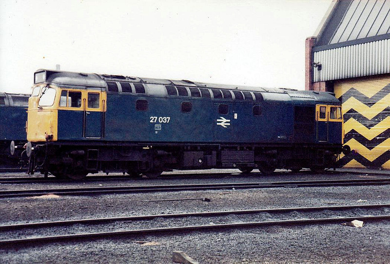 27037 - BRCW Class 27 Type 2 Bo-Bo DE - built 06/62 by BRCW as D5389 - 1973 to 27037 - withdrawn 03/86 - seen here at Haymarket in 1983.