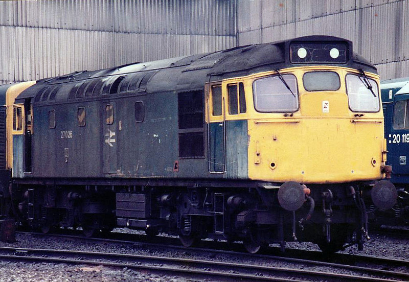 27026 - BRCW Class 27 Type 2 Bo-Bo DE - built 02/62 by BRCW as D5372 - 1973 to 26027 - withdrawn 07/87 - seen here at Eastfield in 1983.