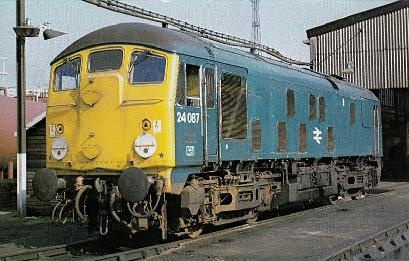 24087- BR Class 24 Type 2 Bo-Bo DE - built 06/60 by Crewe Works as D5087 - 1973 to 24087 - withdrawn 02/78 from Crewe Diesel TMD, where seen in 1978.