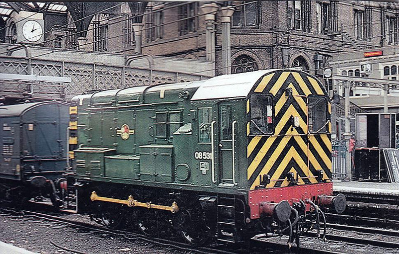 08531 - BR/English Electric Class 08 0-6-0 DE Shunter - built 04/59 by Darlington Works as D3693 - still in traffic - seen here as Liverpool Street Station Pilot, 07/78.