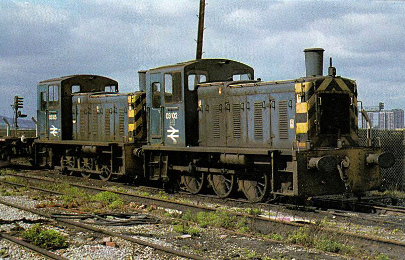 03102 - BR Class 03 06-0DM Shunter - built 08/60 by Doncaster Works as D2102 - 1973 to 03102 - withdrawn 02/76 - seen here at Gateshead with sister loco 03105.